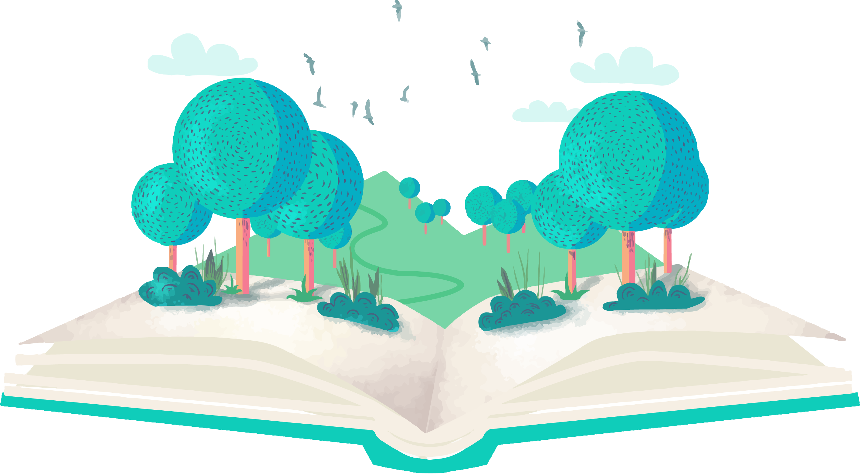 A book with a forest in it