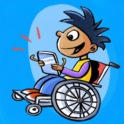 Cartoon of kid in a wheelchair reading